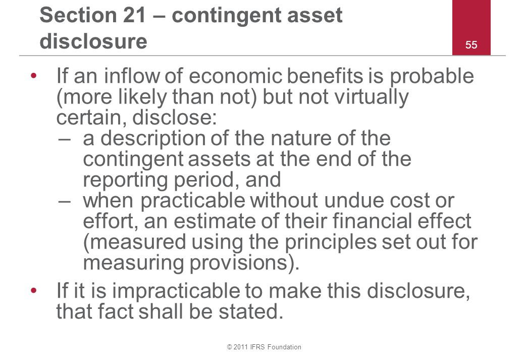 Section 21 – contingent asset disclosure