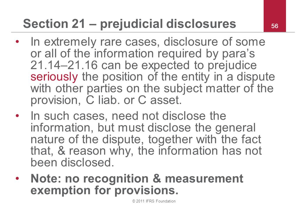 Section 21 – prejudicial disclosures