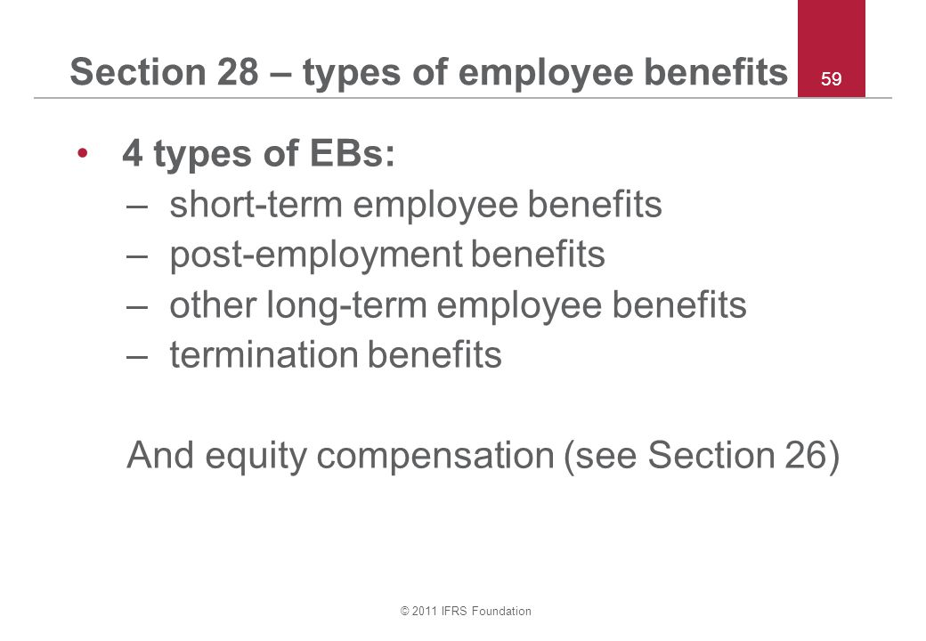 Section 28 – types of employee benefits