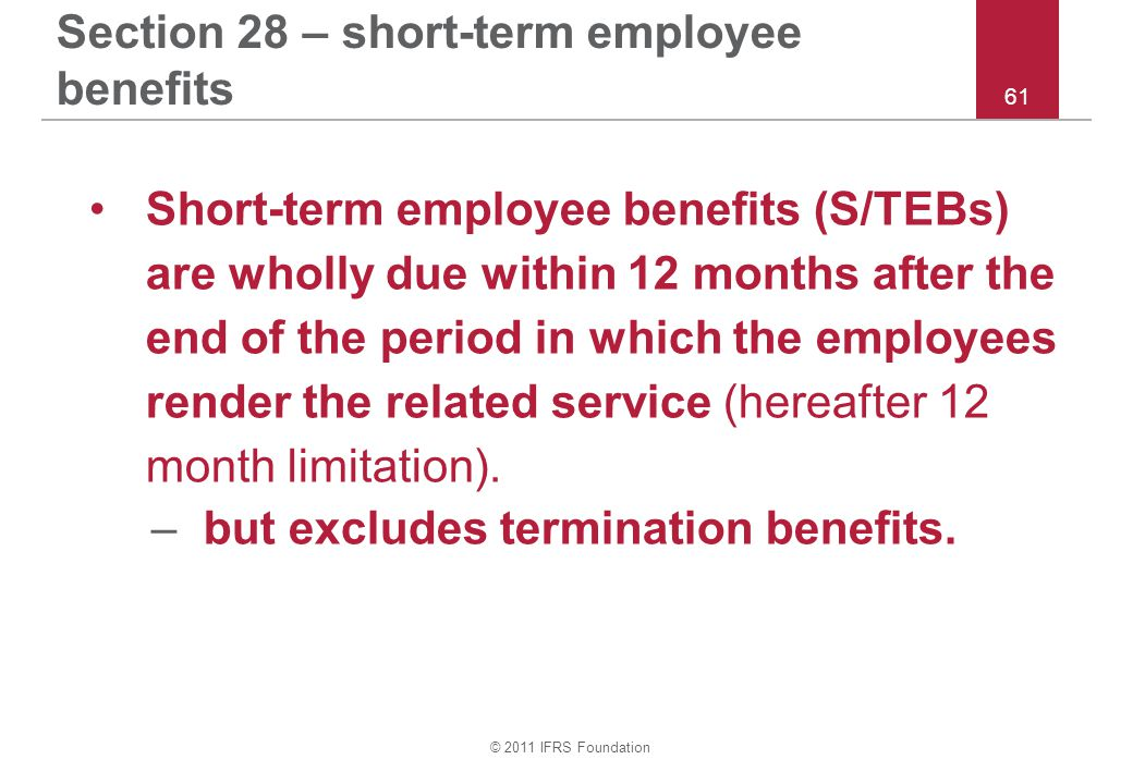 Section 28 – short-term employee benefits