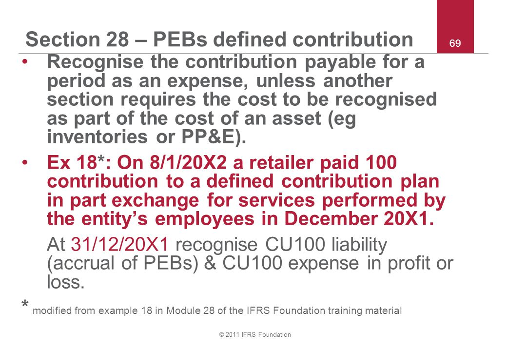 Section 28 – PEBs defined contribution