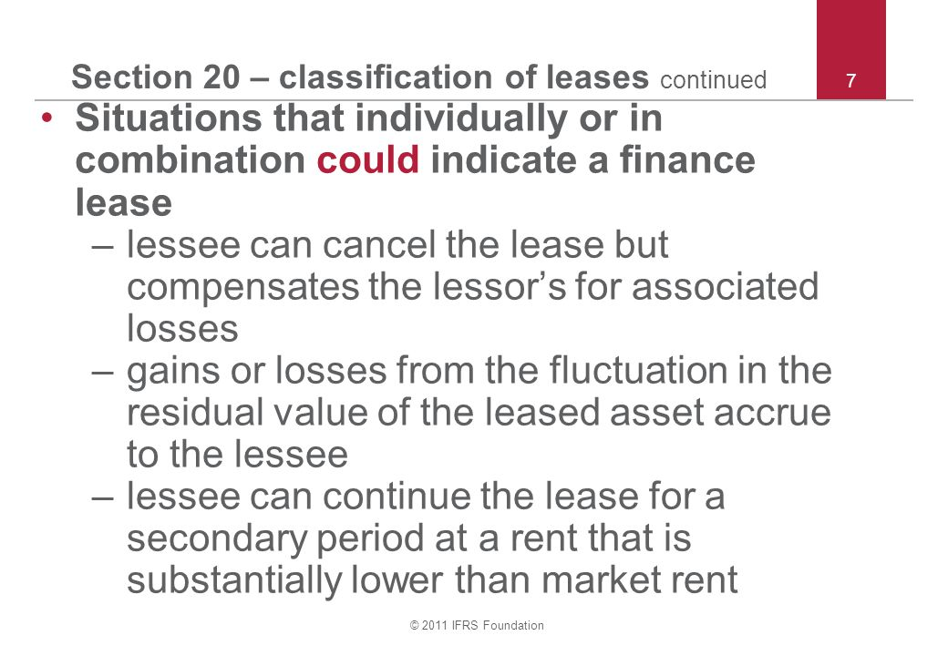 Section 20 – classification of leases continued