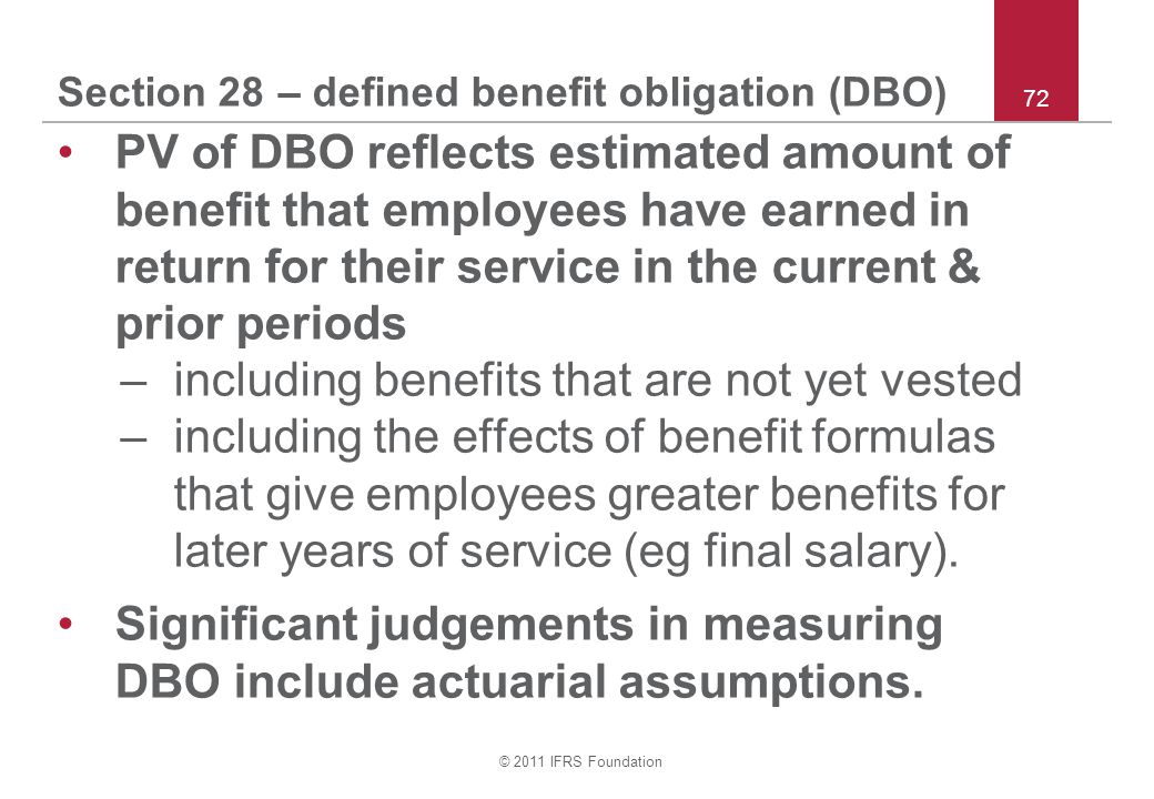 Section 28 – defined benefit obligation (DBO)