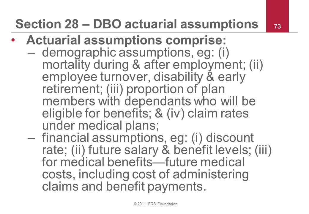 Section 28 – DBO actuarial assumptions