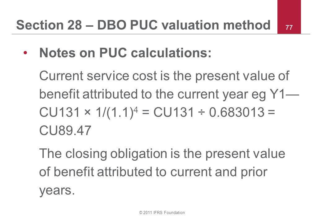 Section 28 – DBO PUC valuation method