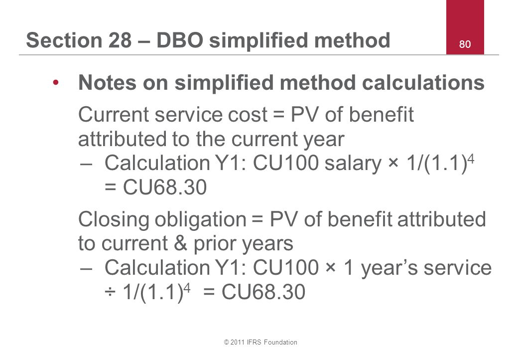 Section 28 – DBO simplified method