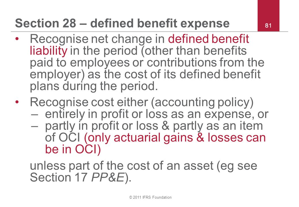 Section 28 – defined benefit expense