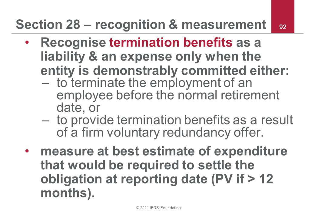 Section 28 – recognition & measurement