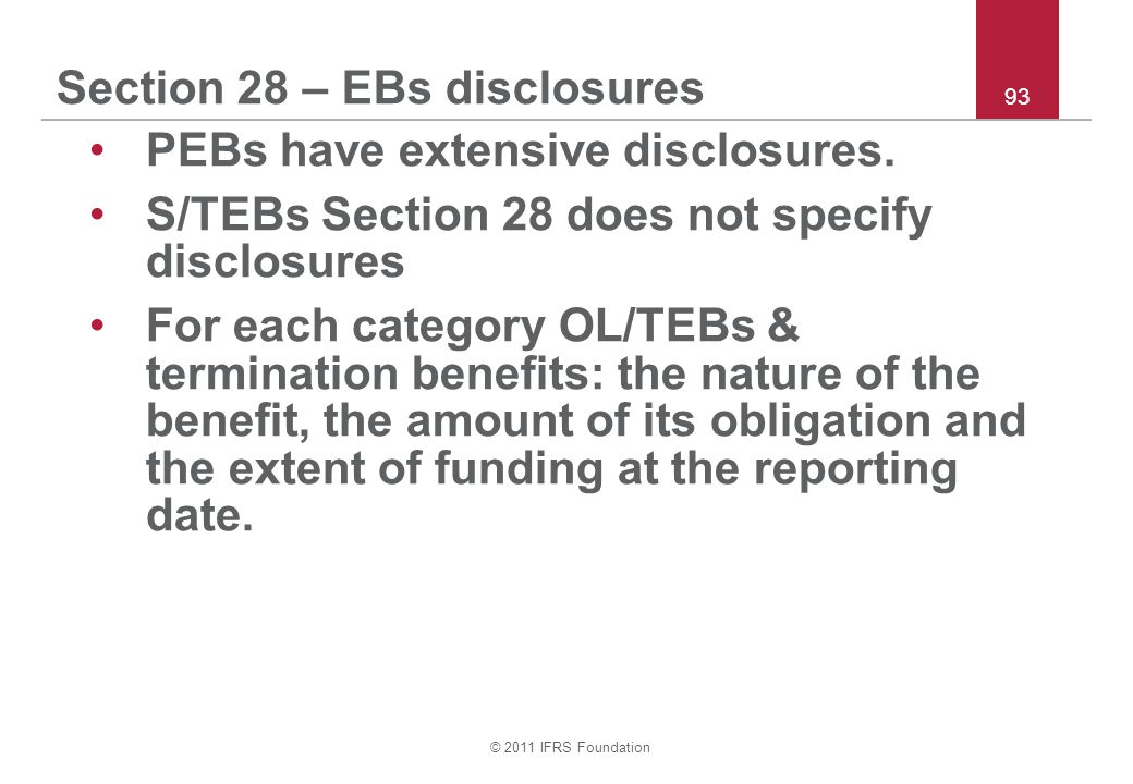 Section 28 – EBs disclosures