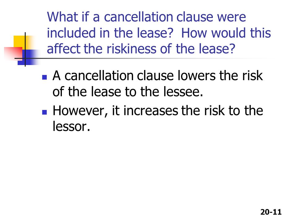 What if a cancellation clause were included in the lease