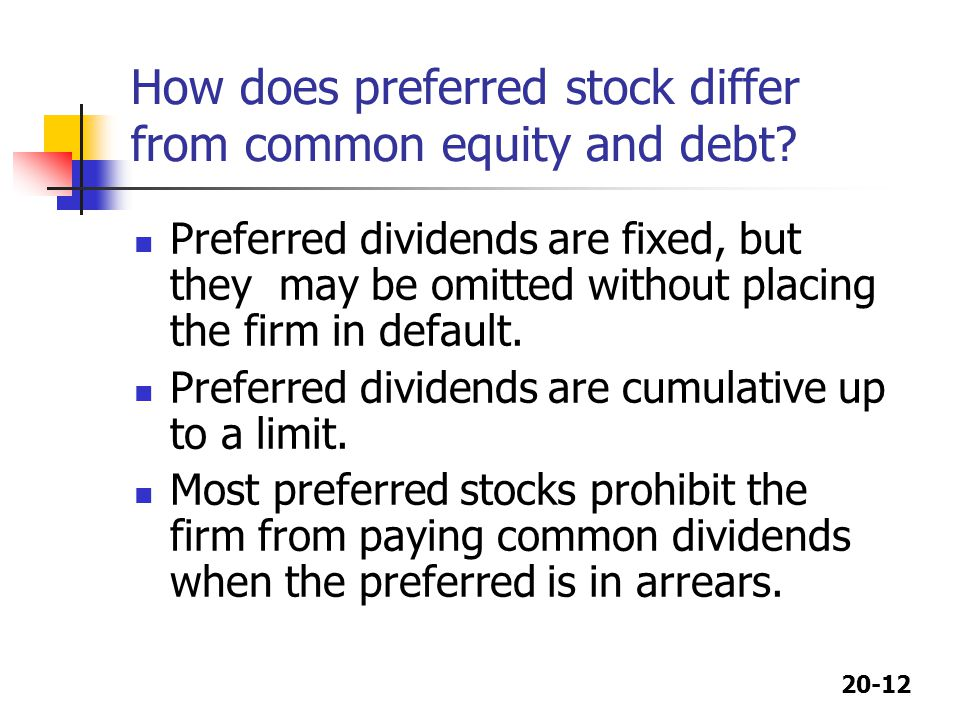 How does preferred stock differ from common equity and debt