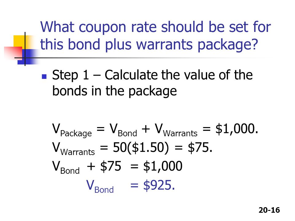 What coupon rate should be set for this bond plus warrants package