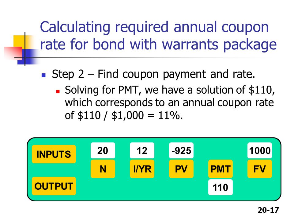 Calculating required annual coupon rate for bond with warrants package