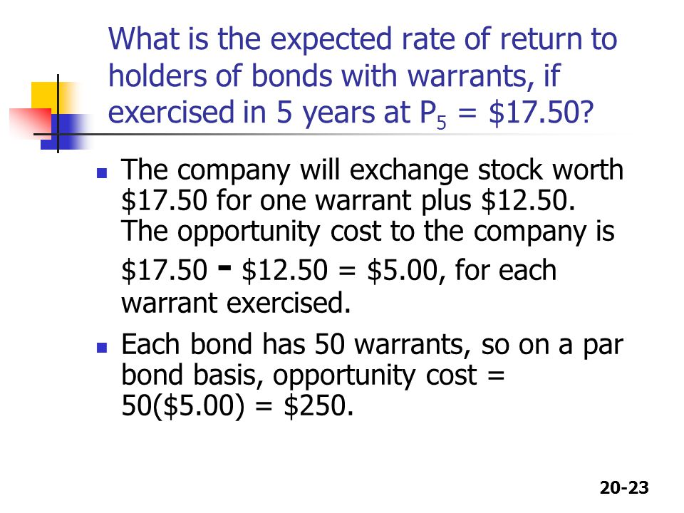 What is the expected rate of return to holders of bonds with warrants, if exercised in 5 years at P5 = $17.50