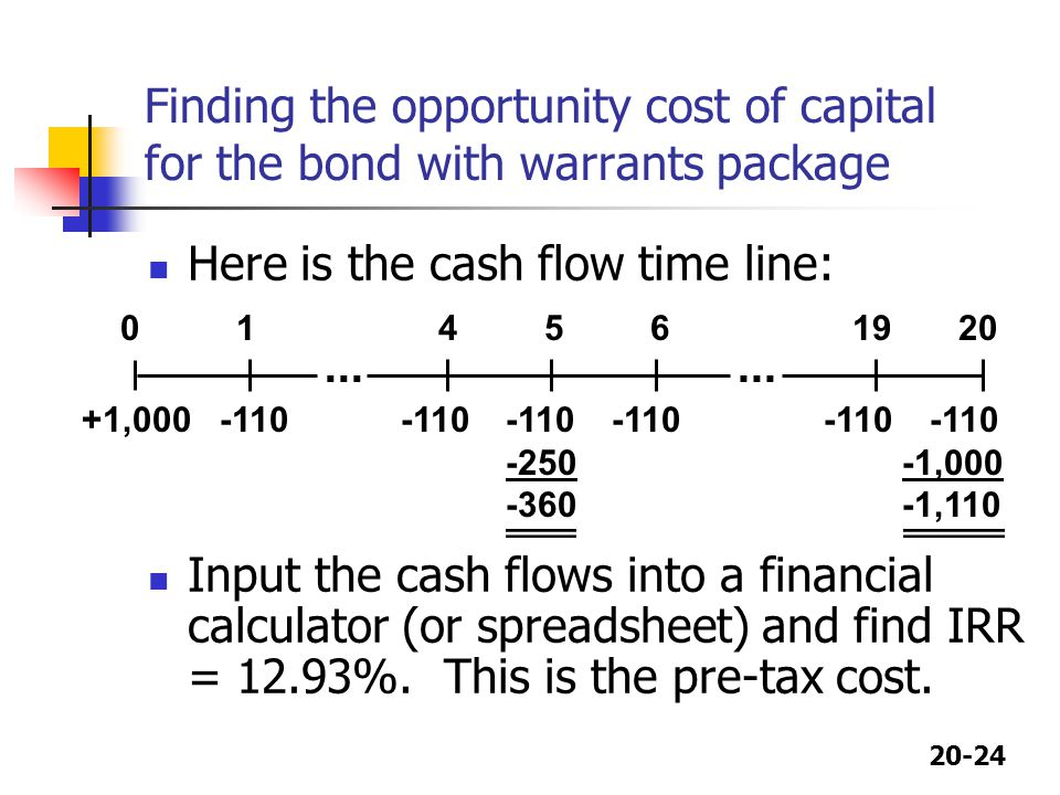 Here is the cash flow time line: