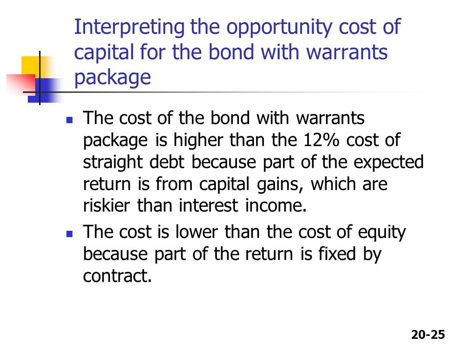 Interpreting the opportunity cost of capital for the bond with warrants package