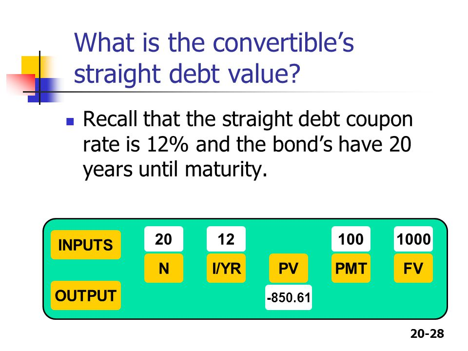 What is the convertible's straight debt value