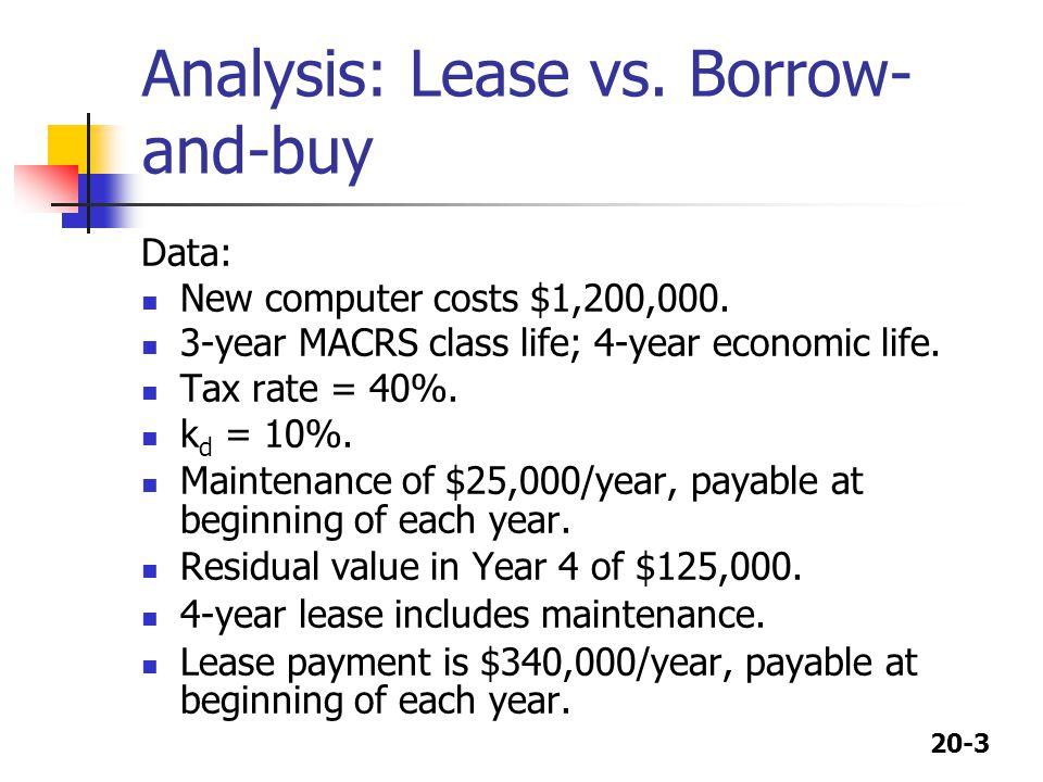 Analysis: Lease vs. Borrow-and-buy