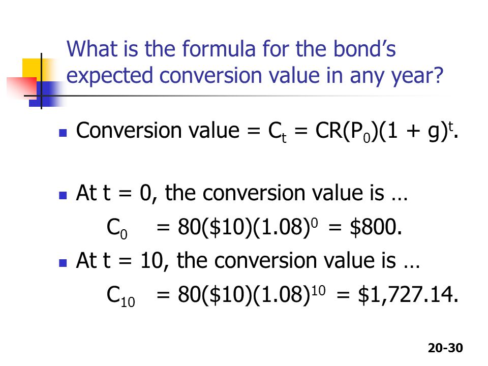 What is the formula for the bond's expected conversion value in any year
