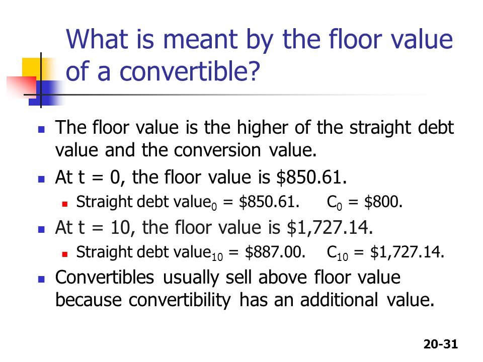 What is meant by the floor value of a convertible