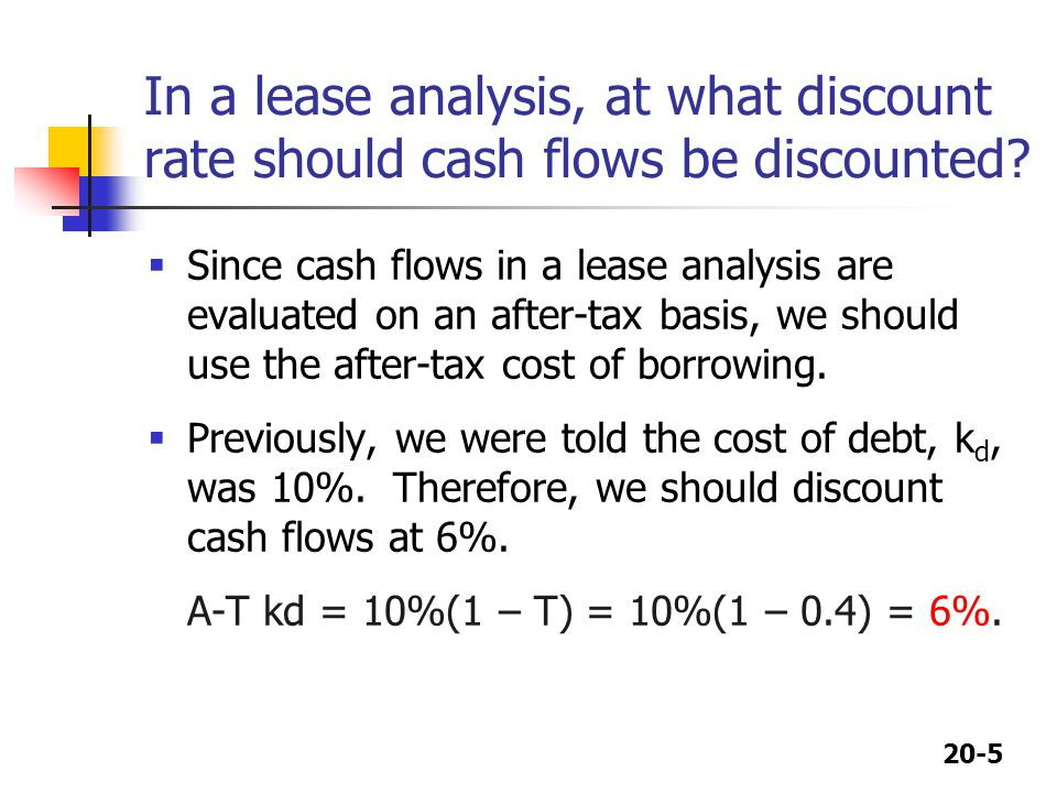 In a lease analysis, at what discount rate should cash flows be discounted