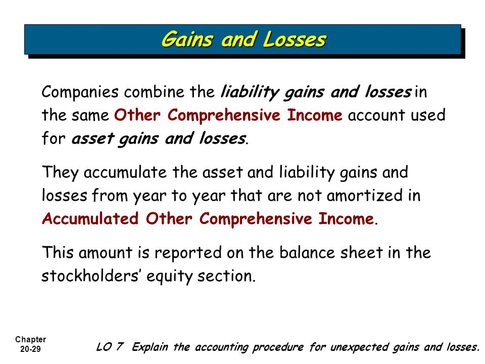 Gains and Losses Companies combine the liability gains and losses in the same Other Comprehensive Income account used for asset gains and losses.