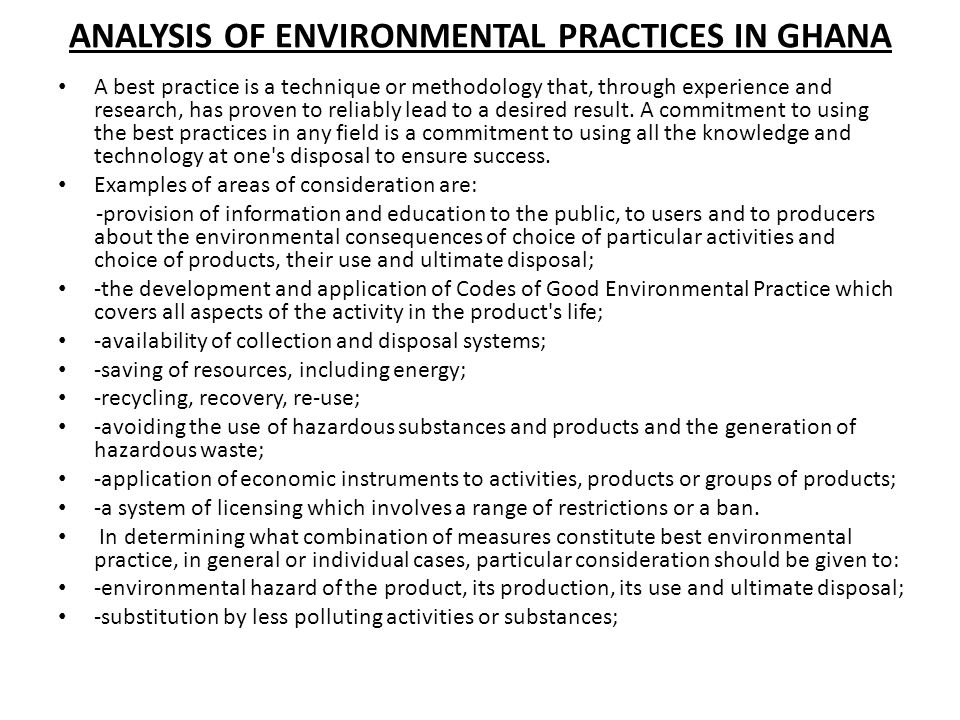 ANALYSIS OF ENVIRONMENTAL PRACTICES IN GHANA