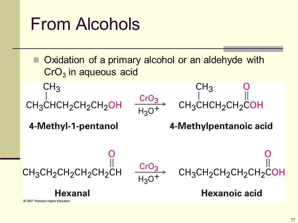 From Alcohols Oxidation of a primary alcohol or an aldehyde with CrO3 in aqueous acid