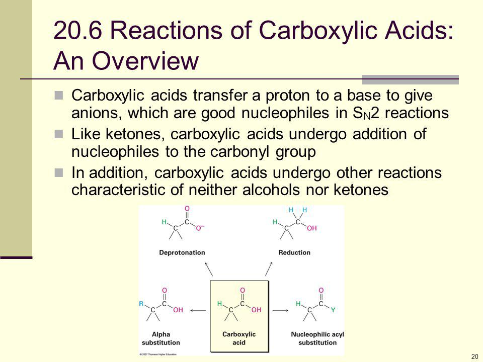 20.6 Reactions of Carboxylic Acids: An Overview