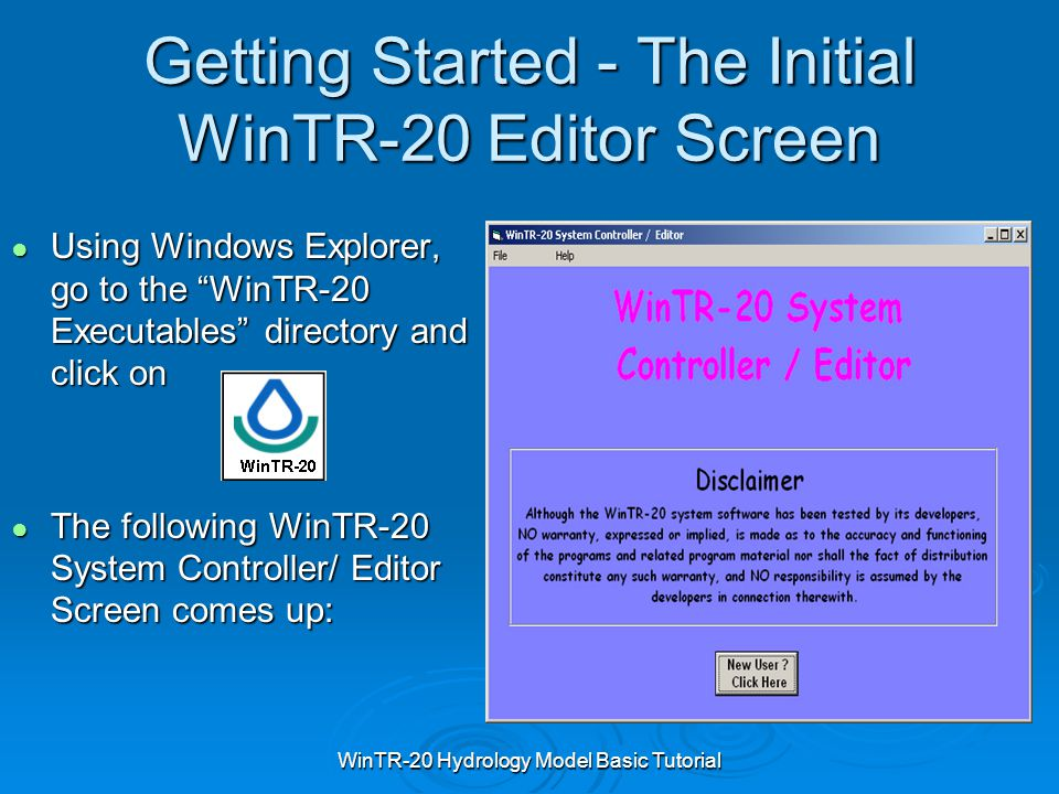 Getting Started - The Initial WinTR-20 Editor Screen
