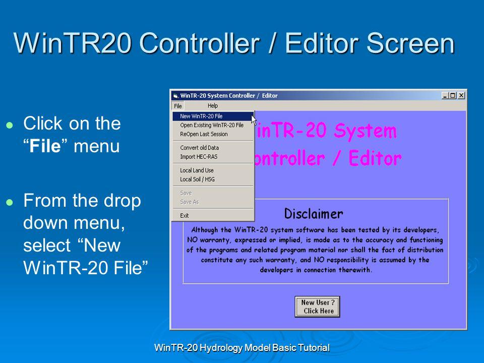 WinTR20 Controller / Editor Screen