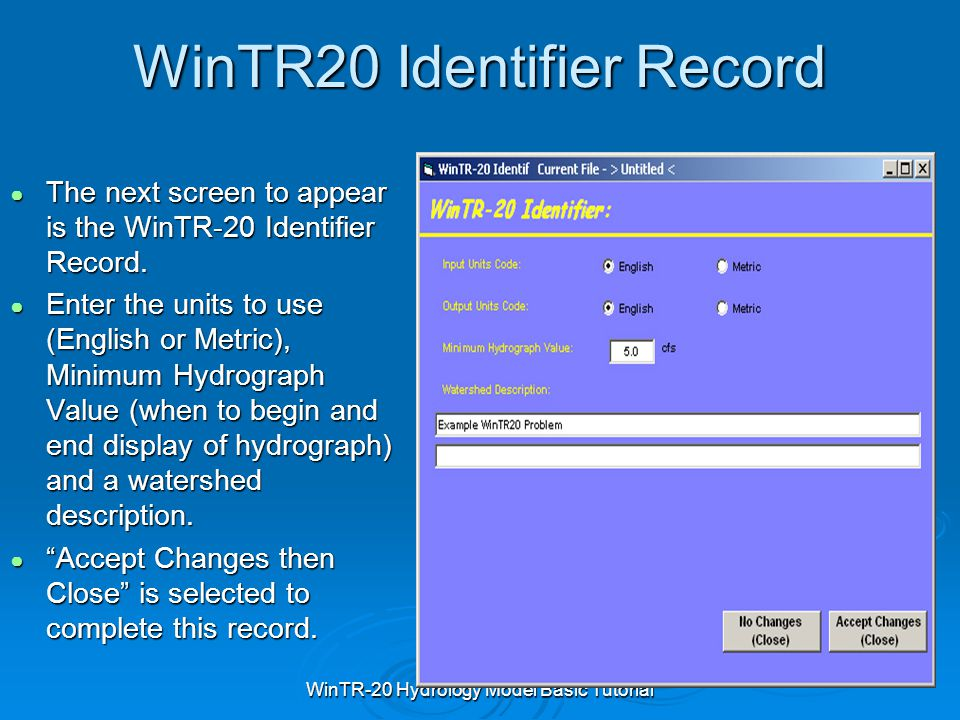 WinTR20 Identifier Record