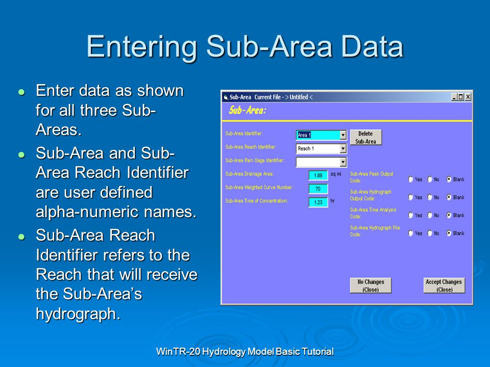 Entering Sub-Area Data