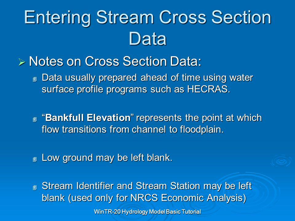 Entering Stream Cross Section Data