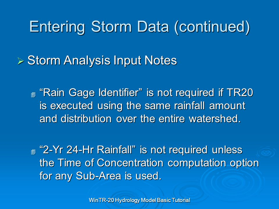Entering Storm Data (continued)