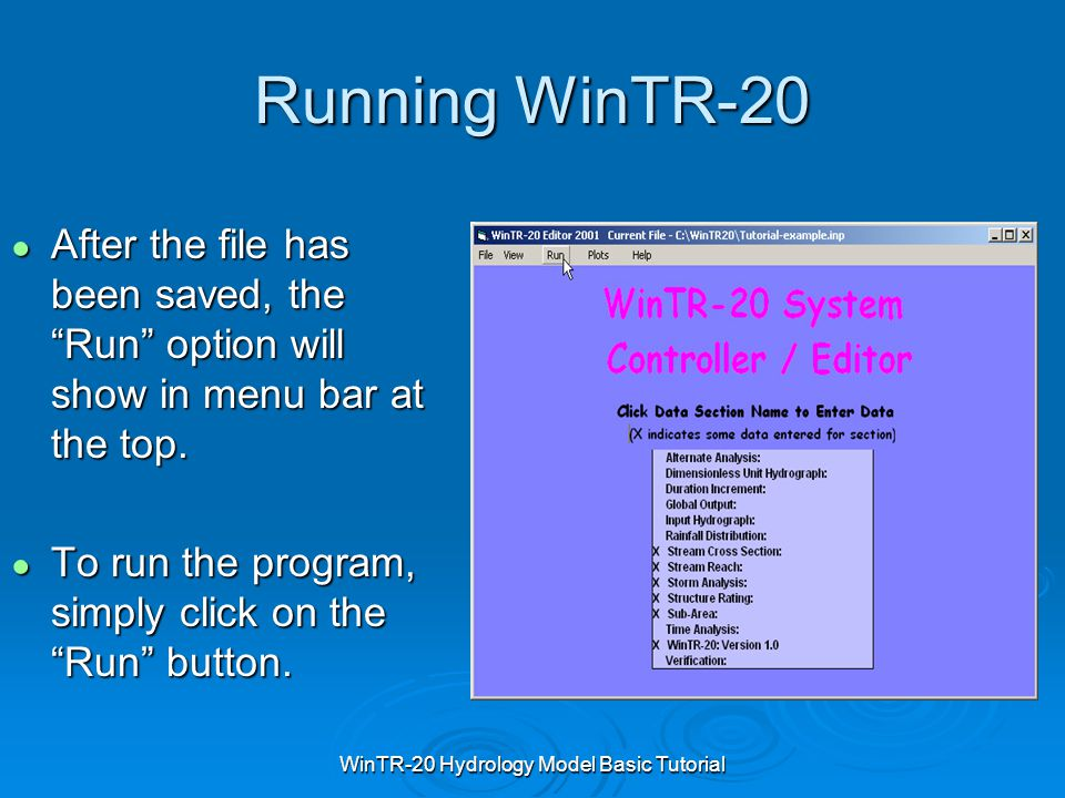 WinTR-20 Hydrology Model Basic Tutorial