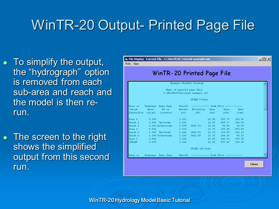 WinTR-20 Output- Printed Page File