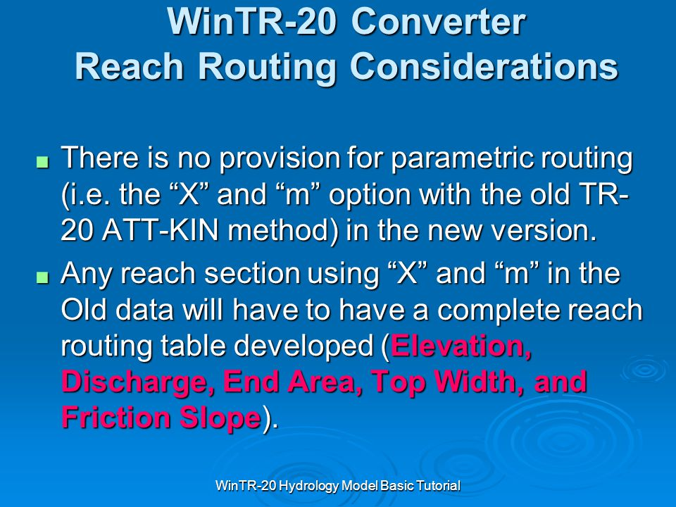 WinTR-20 Converter Reach Routing Considerations
