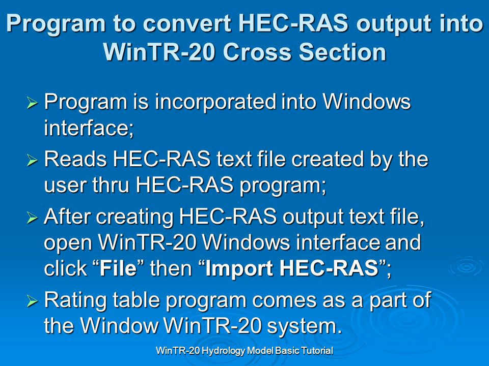 Program to convert HEC-RAS output into WinTR-20 Cross Section