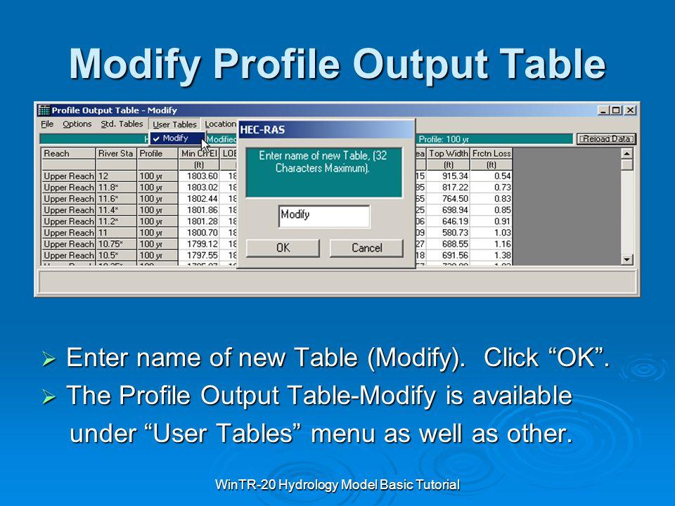 Modify Profile Output Table