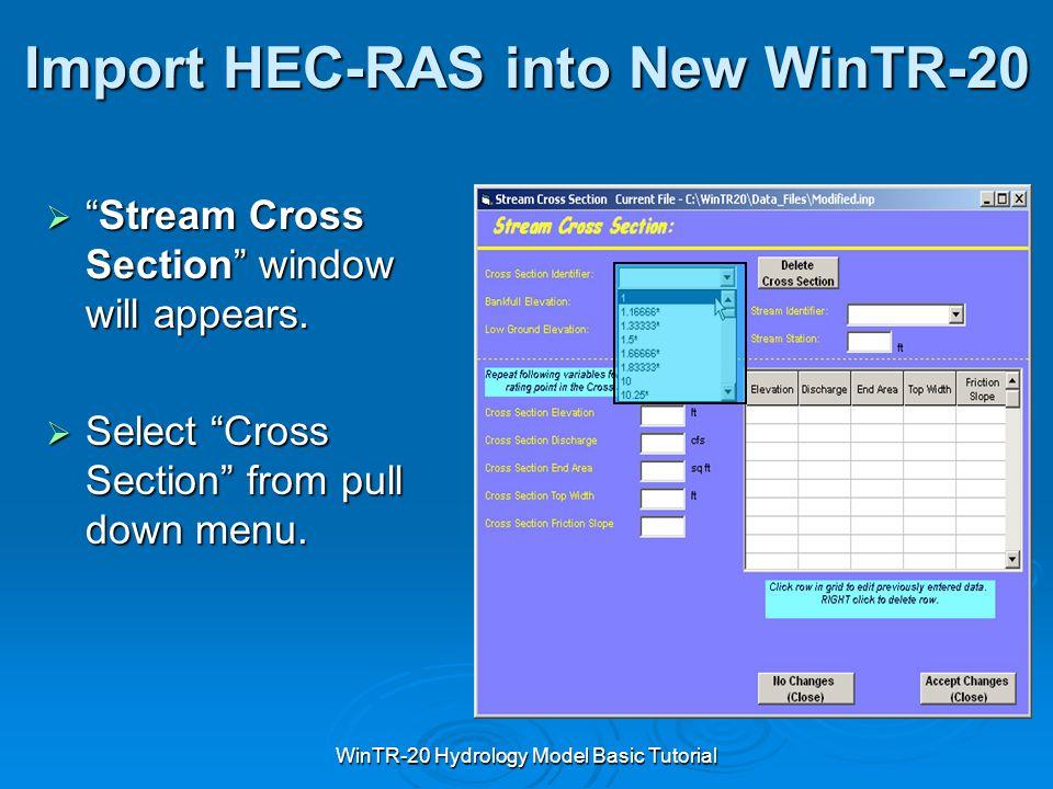 Import HEC-RAS into New WinTR-20