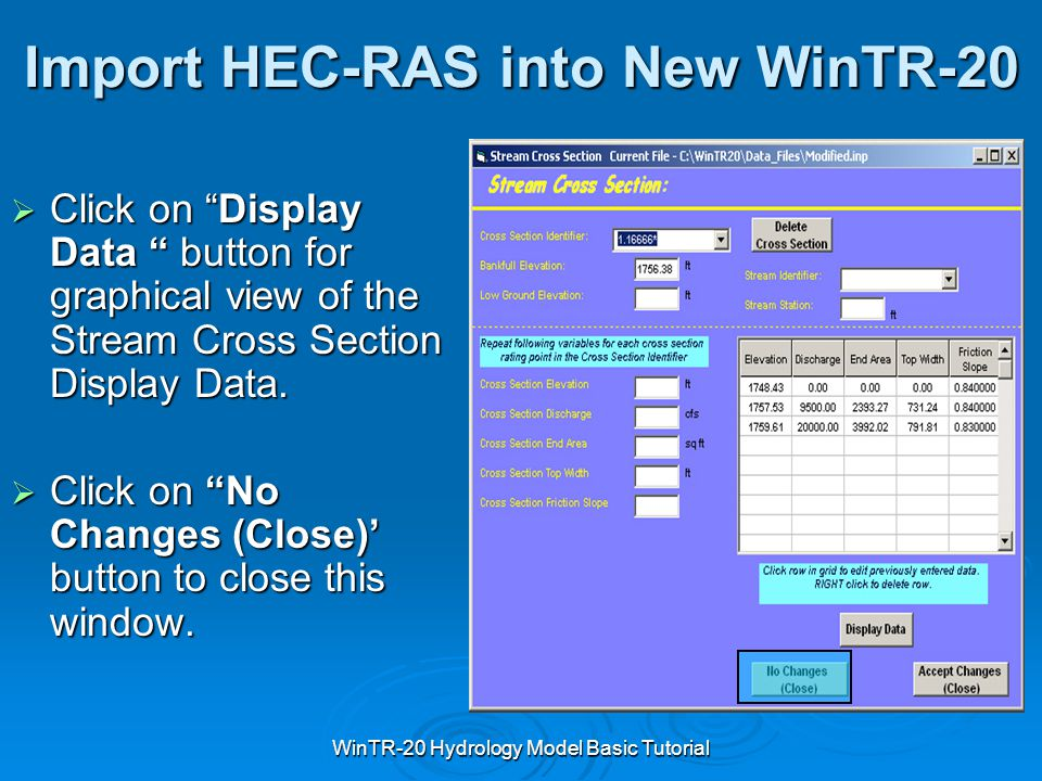 Import HEC-RAS into New WinTR-20