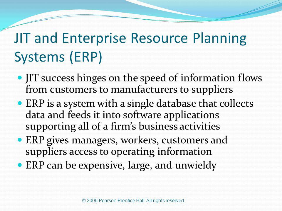 JIT and Enterprise Resource Planning Systems (ERP)