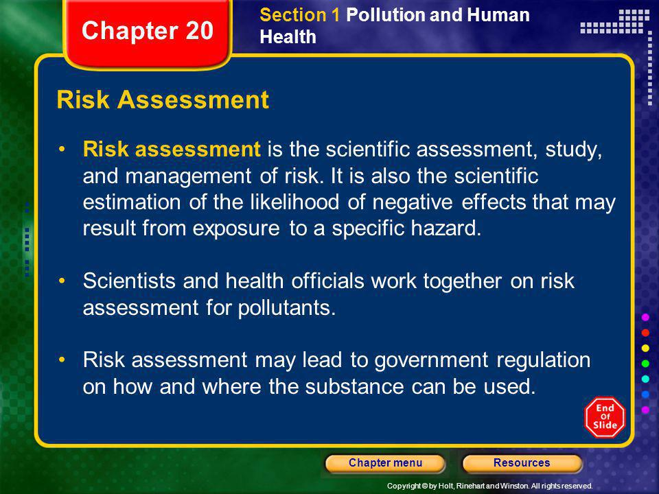 Chapter 20 Risk Assessment