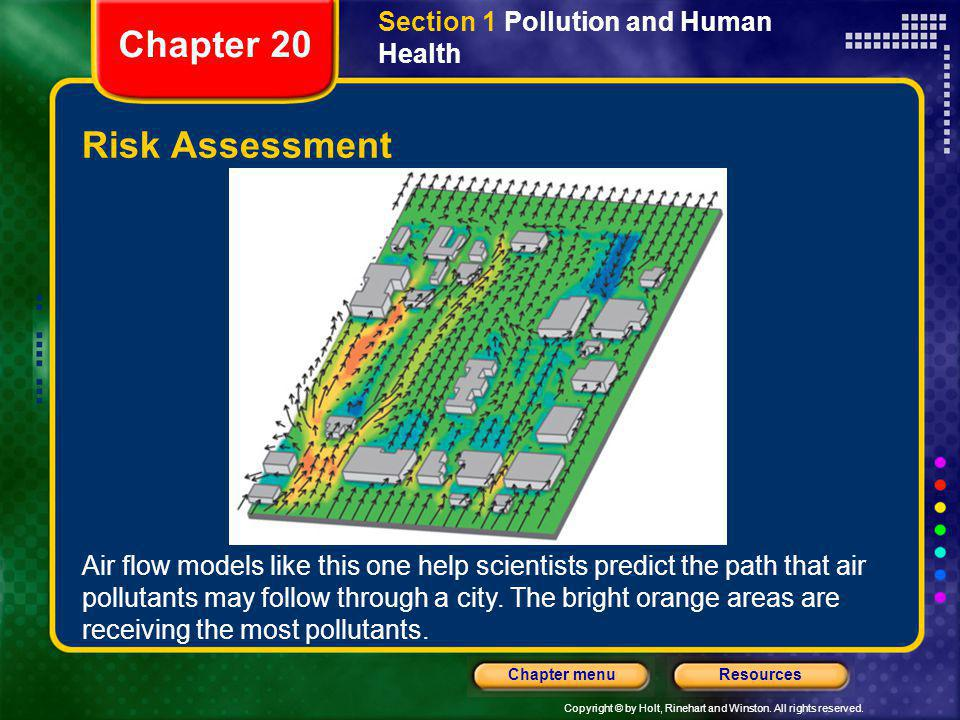 Chapter 20 Risk Assessment Section 1 Pollution and Human Health