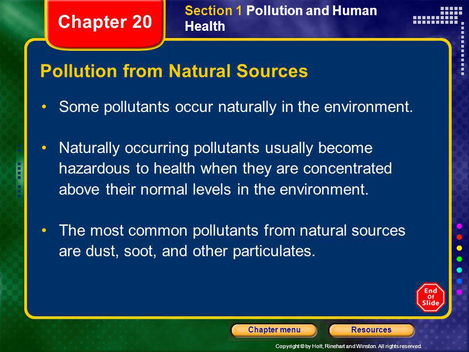 Pollution from Natural Sources