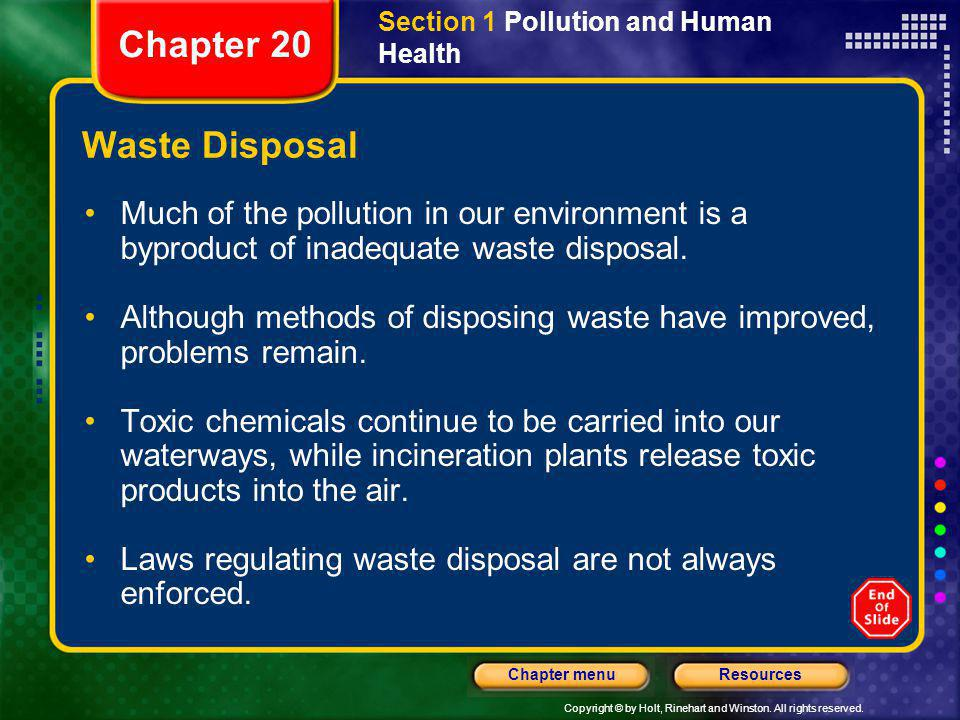 Chapter 20 Waste Disposal