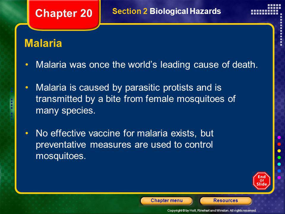 Chapter 20 Section 2 Biological Hazards. Malaria. Malaria was once the world's leading cause of death.