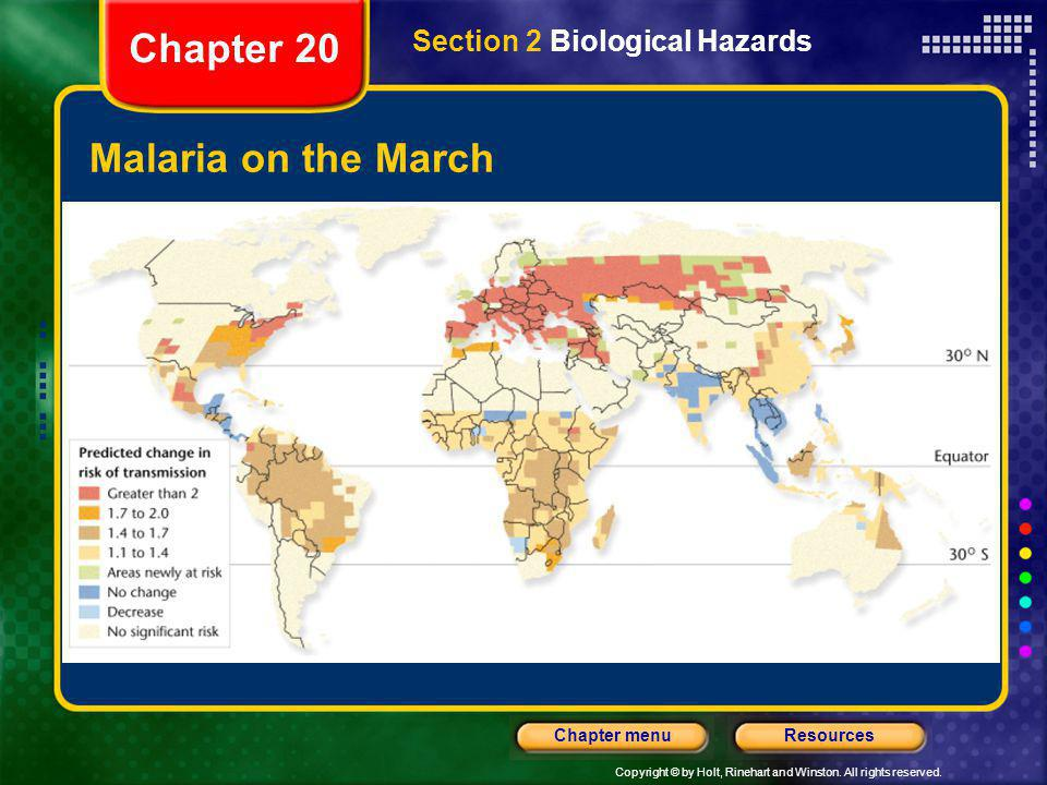 Chapter 20 Section 2 Biological Hazards Malaria on the March