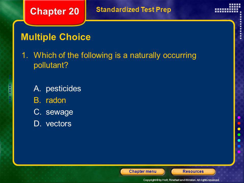 Chapter 20 Multiple Choice